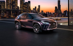 Picture machine, Concept, night, the city, building, car, Luxury, Crossover, lights., Lexus UX