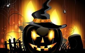 Wallpaper holiday, artwork, hat, vector art, Halloween, witch hat, spider, pumpkin