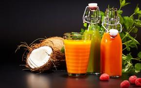 Picture raspberry, coconut, juice, drink, mint