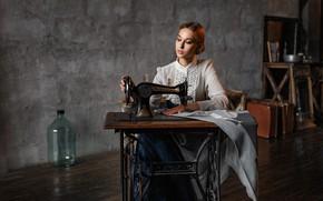 Picture girl, retro, sewing machine, Alex Kashechkin, Olga Ovcharova