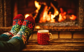 Picture the evening, New Year, Christmas, Cup, socks, fireplace, Christmas, cup, Merry Christmas, Xmas, cocoa, fireplace, …
