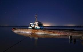 Picture night, pier, lost submarine