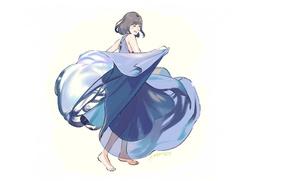 Picture girl, joy, dance, white background, blue dress, barefoot