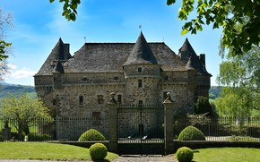 Picture greens, summer, the sky, grass, the sun, trees, castle, the fence, France, the bushes, Auzers …