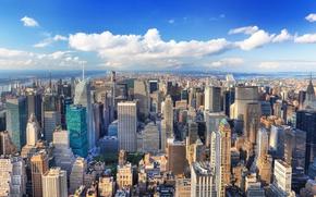 Wallpaper my planet, view, travel, blur, bokeh, wallpaper., skyscrapers, New York, panoramic view, Manhattan, sky clouds, ...