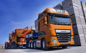 Picture orange, DAF, tractor, DAF, Super Space Cab, the trailer, 8x4, Euro6, agricultural machinery, DAF XF …