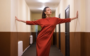 Picture girl, pose, dress, corridor