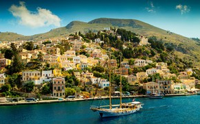 Picture sea, mountains, coast, home, yachts, Greece, Bay, Sunny, Symi