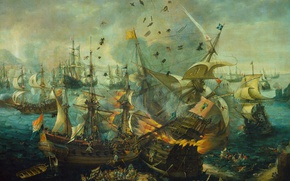 Wallpaper sail, battle, The Explosion Of The Spanish Flagship, Cornelis Claes van Wieringen, oil, canvas, ship, ...