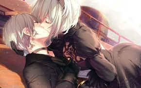 Picture passion, kiss, hugs, tears, white hair, black suit, a pair of lovers, yorha unit no. …