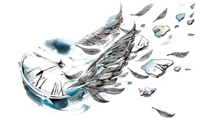 Picture feathers, Clock, watercolors
