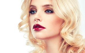 Picture look, girl, eyelashes, model, hand, makeup, lipstick, hairstyle, blonde, blue eyes, photoshoot, Sofia Zhuravets'
