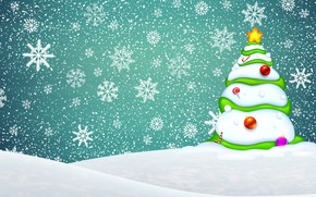 Picture Minimalism, Snow, Christmas, Snowflakes, Background, New year, Tree, Holiday, Tree, The snow