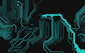 Picture abstract, black, electronic, texture, blue, digital art, Circuit, dark background