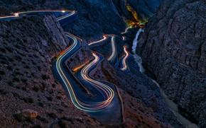 Wallpaper excerpt, rocks, road, canyon, mountains, light