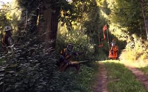 Picture road, forest, weapons, warrior, ambush, Ambush