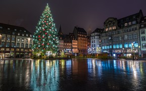 Wallpaper garland, holiday, winter, France, home, area, tree, decoration, Strasbourg, night, New year