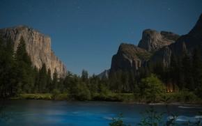 Picture mountains, river, CA, California, Yosemite Valley, Yosemite National Park, Sierra Nevada, starry sky, Yosemite Valley, …