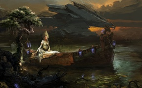 Picture girl, fantasy, boat, Sergey Musin