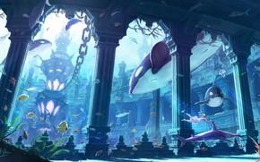 Wallpaper girl, fish, makkou4, art, the ocean, fantasy