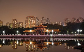 Picture the sky, water, trees, night, lights, reflection, river, home, lights, China, channel, promenade, Shenzhen