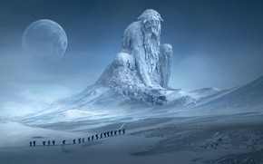 Wallpaper cold, winter, the sky, snow, landscape, mountains, pose, fog, rendering, people, fiction, the moon, tops, ...