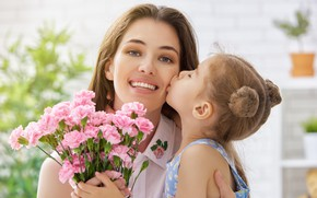 Picture love, flowers, tenderness, care, Mom, Daughter