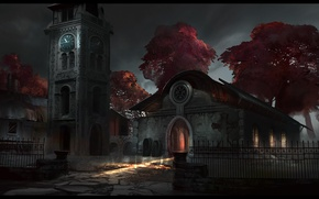 Picture light, trees, house, the fence, watch, tower, coffins, dear lord