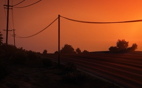 Picture Sunset, Road, Wire, Posts, gta 5, GTA 5