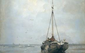 Picture sea, oil, picture, canvas, Jacob Maris Hendrikus, Ship on the Beach of Scheveningen