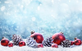 Picture winter, snow, decoration, balls, tree, New Year, Christmas, happy, Christmas, bumps, winter, snow, New Year, …