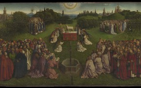 Picture angels, the altar, saints, The lamb