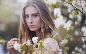 Picture look, branches, face, spring, Camille Rochette