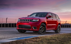 Picture car, red, asphalt, Jeep, Cherokee, technology, Jeep Grand Cherokee Trackhawk, Grand Cherokee Trackhawk