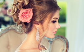Wallpaper girl, style, rose, earrings, makeup, hairstyle, profile