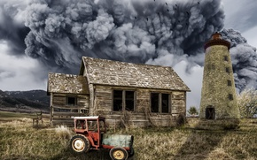 Picture house, smoke, tractor, installation