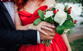 Picture girl, photo, bouquet, ring, hands, dress, male, Nika Training