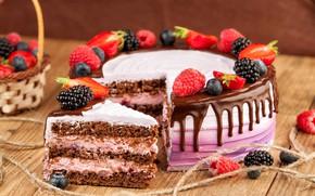 Picture berries, raspberry, chocolate, strawberry, cake, cream, BlackBerry, blueberries