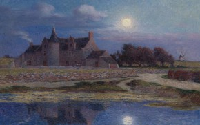 Picture landscape, night, house, reflection, picture, Ferdinand du Puigaudeau, Ferdinand du Plegado, Kervaudu under the Clear ...