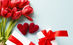 Wallpaper love, flowers, bouquet, gifts, hearts, tulips, Valentine's day