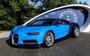 Wallpaper bugatti, blue, podium, chiron