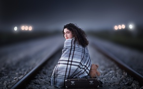 Picture girl, bear, railroad, suitcase