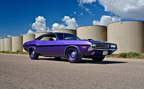 Picture Dodge Challenger, retro, muscle car, purple, super car, muscle classic