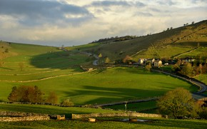 Picture trees, hills, field, England, home