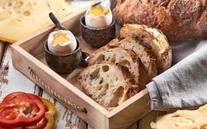 Picture egg, bread, pepper