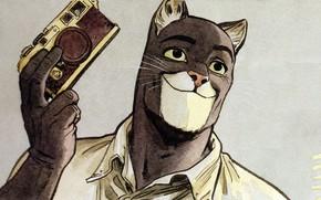 Picture cat, art, cat, art, detective, illustration, comics, animal, illustration, blacksad