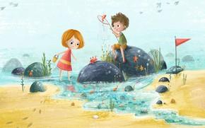 Wallpaper illustration, stay, children, Lucy Fleming, sea, children's, figure, summer