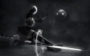 Wallpaper girl, fiction, black and white, cosplay, NieR: Automata, YoRHa No. 2 type B