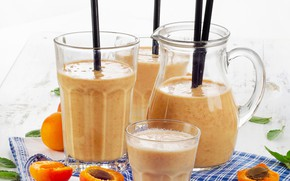 Picture apricot, glasses, pitcher, drink, smoothies