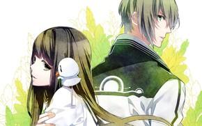 Picture leaves, bird, two, school uniform, long hair, back to back, visual novel, norn9, azuma natsuhiko, …